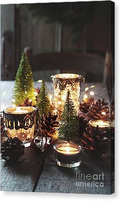 Closeup Of Candles And Decorations For The Holidays Canvas Print by Sandra Cunningham