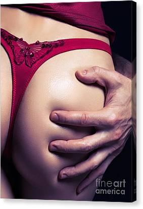 Closeup Of Man Hand On Sexy Woman Buttocks Canvas Print by Oleksiy Maksymenko