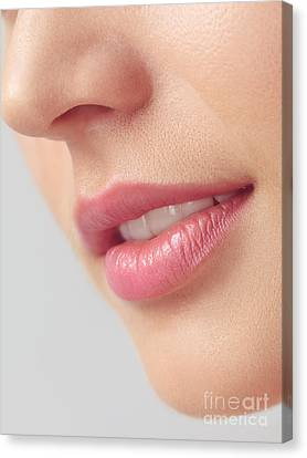Closeup Of Woman Mouth With Pink Lips Canvas Print
