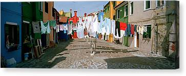 Clothesline In A Street, Burano Canvas Print