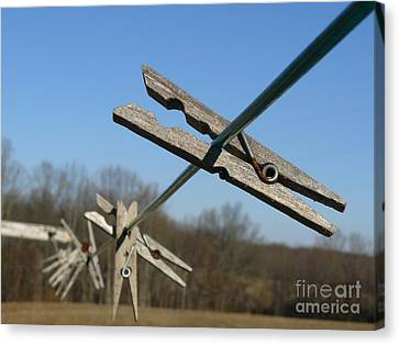 Canvas Print featuring the photograph Clothespin In Winter by Jane Ford