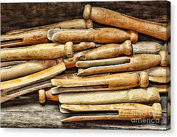 Laundry Mat Canvas Print - Clothespins by Paul Ward