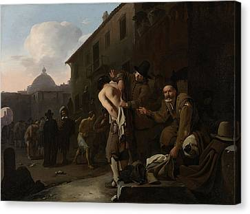 Clothing The Naked, Michael Sweerts Canvas Print by Litz Collection
