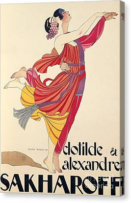 Dresses Canvas Print - Clotilde And Alexandre Sakharoff by George Barbier