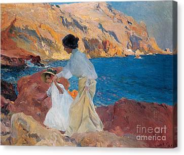 Clotilde And Elena On The Rocks Canvas Print by Joaquin Sorolla y Bastida