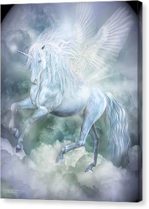 Dancing Canvas Print - Unicorn Cloud Dancer by Carol Cavalaris