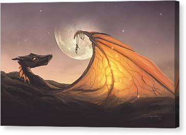 Modern Digital Art Canvas Print - Cloud Dragon by Cassiopeia Art