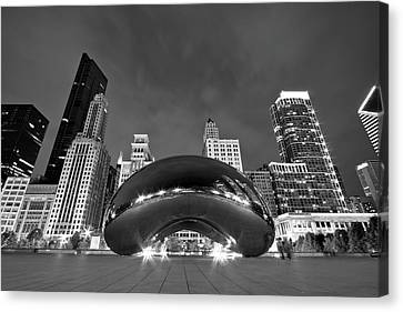 Black And White Canvas Print - Cloud Gate And Skyline by Adam Romanowicz