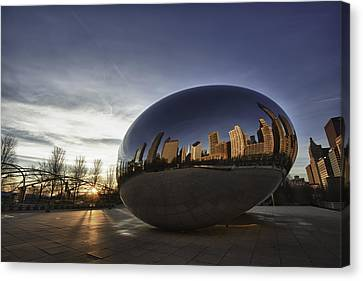 Cloud Gate At Sunrise Canvas Print by Sebastian Musial
