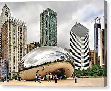 Cloud Gate In Chicago Canvas Print by Mitchell R Grosky