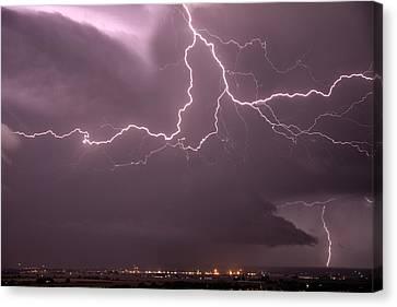Cloud Lightning Canvas Print by Leland D Howard