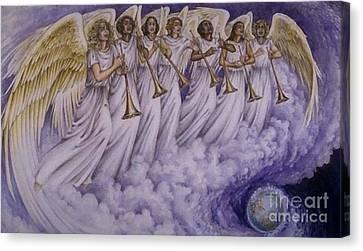 Cloud Of Seven Archangel Canvas Print by Archangelus Gallery