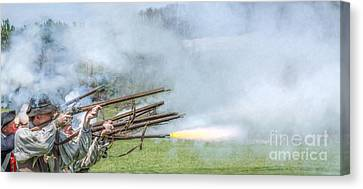 Cloud Of Smoke Volley Fire Canvas Print by Randy Steele