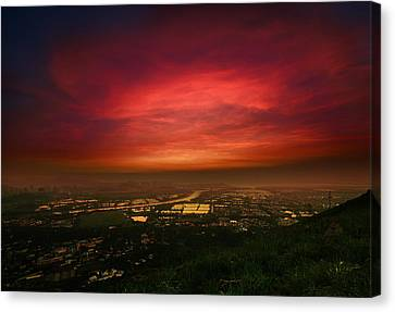 Canvas Print featuring the photograph Cloud On Fire by Afrison Ma