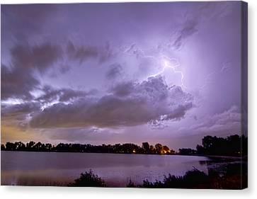 Cloud To Cloud Lake Lightning Strike Canvas Print