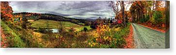 Cloudland Rd Panoramic - Vermont Canvas Print by Joann Vitali