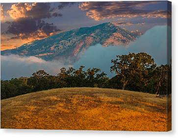 Clouds Fog And Mt Diablo Canvas Print by Marc Crumpler