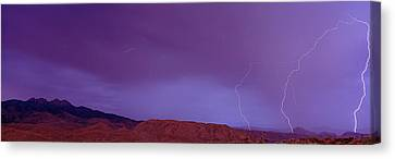 Clouds Lightning Over The Mountains, Mt Canvas Print