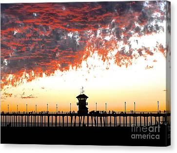 Canvas Print featuring the photograph Clouds On Fire by Margie Amberge