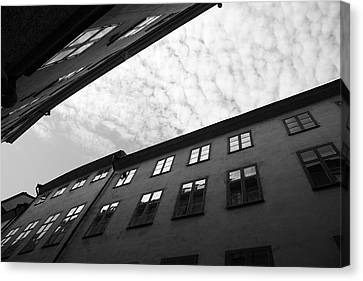 Clouds Over A Narrow Alley - Monochrome Canvas Print