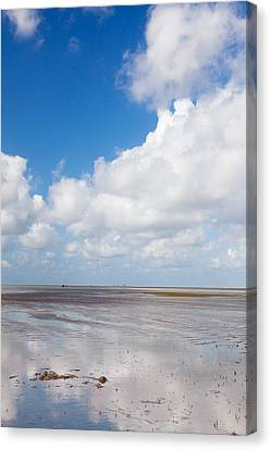 Clouds Over Beach, Wattenmeer Bei Ebbe Canvas Print