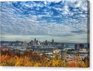 Clouds Over Cincinnati Canvas Print by Mel Steinhauer