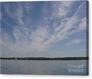 Canvas Print featuring the photograph Clouds Over Long Island Sound by John Telfer