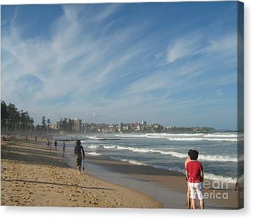 Canvas Print featuring the photograph Clouds Over Manly Beach by Leanne Seymour