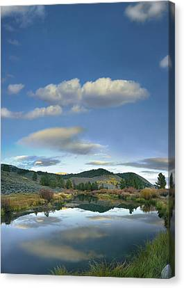 Clouds Reflected In Salmon River Idaho Canvas Print by Tim Fitzharris