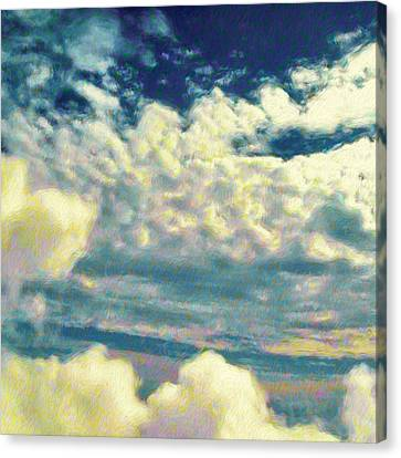 Clouds With Yellow Flecks - Square Canvas Print by Lyn Voytershark