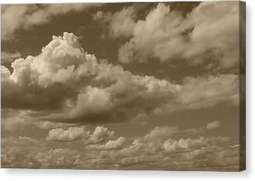 Cloudscape In Sepia Canvas Print by Suzanne Gaff