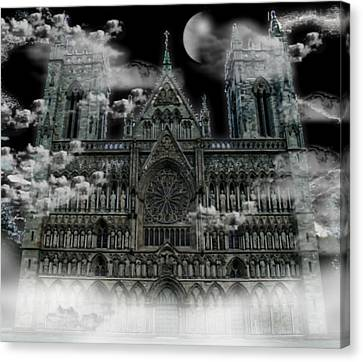 Canvas Print featuring the photograph Cloudy Cathedral by Digital Art Cafe