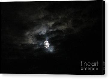 Canvas Print featuring the photograph Night Time Cloudy Dark Moon by Barbara Yearty
