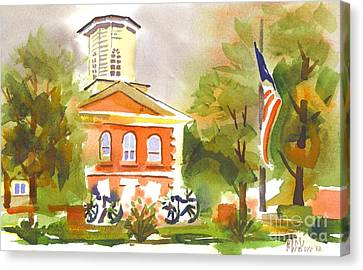 Cloudy Day At The Courthouse Canvas Print by Kip DeVore