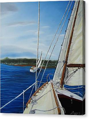 Cloudy Day Sailing Boats Canvas Print by Portland Art Creations