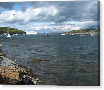 Canvas Print featuring the photograph Cloudy Harbor by Gene Cyr