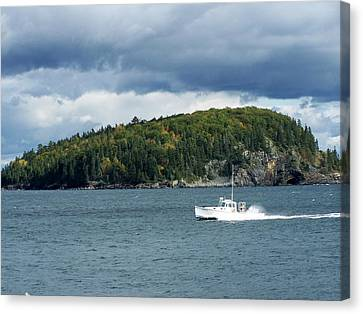 Canvas Print featuring the photograph Cloudy Island by Gene Cyr
