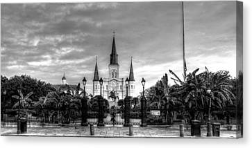 Cloudy Morning At  St. Louis Cathedral In Black And White Canvas Print