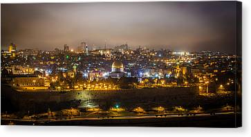 Cloudy Night In Jerusalem Canvas Print by David Morefield