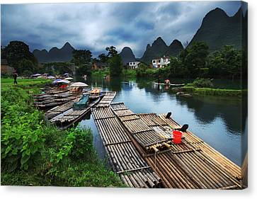 Canvas Print featuring the photograph Cloudy Village by Afrison Ma