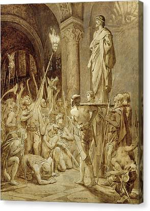 Clovis 465-511 Carried On His Shield Oil On Canvas Canvas Print