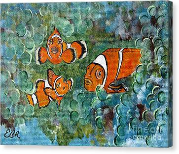 Clown Fish Art Original Tropical Painting Canvas Print