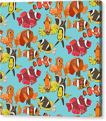Clown Fish Blue Canvas Print by Sharon Turner
