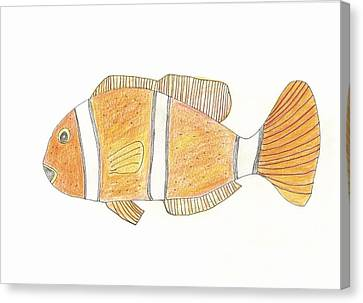 Canvas Print featuring the drawing Clown Fish by Helen Holden-Gladsky