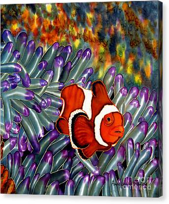 Clown Fish In Hiding Canvas Print by Anderson R Moore
