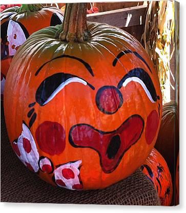 Clown Pumpkin Canvas Print by Denyse Duhaime