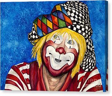 Watercolor Clown #16 Ron Maslanka Canvas Print by Patty Vicknair