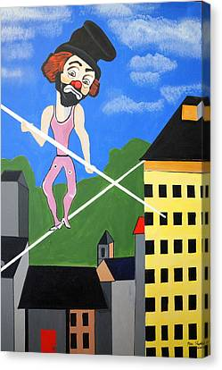 Canvas Print featuring the painting Clown Tight Roping by Nora Shepley
