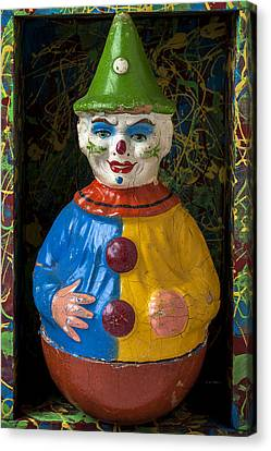 Clown Toy In Box Canvas Print by Garry Gay