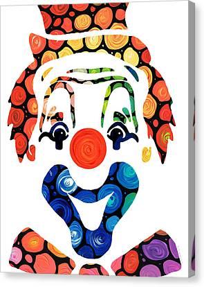 Clownin Around - Funny Circus Clown Art Canvas Print by Sharon Cummings